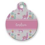 Llamas Round Pet Tag (Personalized)