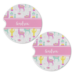 Llamas Sandstone Car Coasters - Set of 2 (Personalized)