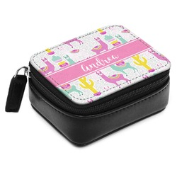 Llamas Small Leatherette Travel Pill Case (Personalized)