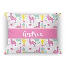 Llamas Rectangular Throw Pillow Case (Personalized)