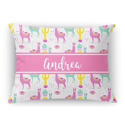 Llamas Rectangular Throw Pillow Case (Personalized)