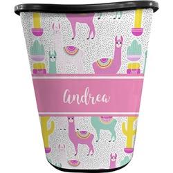 Llamas Waste Basket - Double Sided (Black) (Personalized)