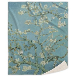 Apple Blossoms (Van Gogh) Sherpa Throw Blanket
