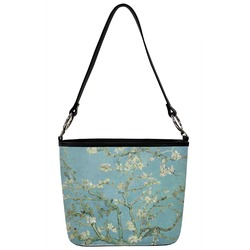 Almond Blossoms (Van Gogh) Bucket Bag w/ Genuine Leather Trim