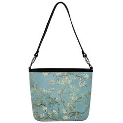 Apple Blossoms (Van Gogh) Bucket Bag w/ Genuine Leather Trim