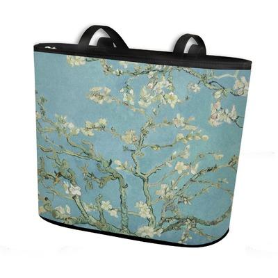 Almond Blossoms (Van Gogh) Bucket Tote w/ Genuine Leather Trim