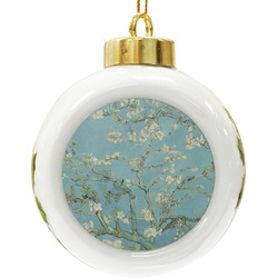 Apple Blossoms (Van Gogh) Ceramic Ball Ornament