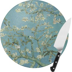 Almond Blossoms (Van Gogh) Round Glass Cutting Board