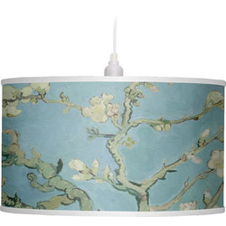 Apple Blossoms (Van Gogh) Drum Pendant Lamp Linen
