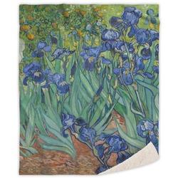 Irises (Van Gogh) Sherpa Throw Blanket