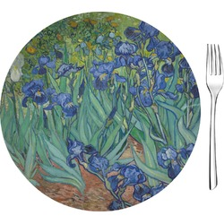 "Irises (Van Gogh) Glass Appetizer / Dessert Plates 8"" - Single or Set"