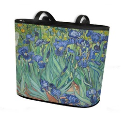 Irises (Van Gogh) Bucket Tote w/ Genuine Leather Trim
