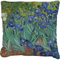 Irises (Van Gogh) Faux-Linen Throw Pillow