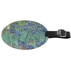 Irises (Van Gogh) Genuine Leather Oval Luggage Tag