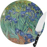 Irises (Van Gogh) Round Glass Cutting Board
