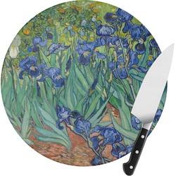 Irises (Van Gogh) Round Glass Cutting Board