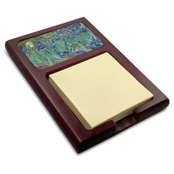 Irises (Van Gogh) Red Mahogany Sticky Note Holder