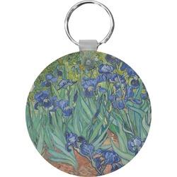 Irises (Van Gogh) Round Plastic Keychain