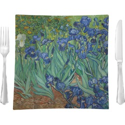 "Irises (Van Gogh) Glass Square Lunch / Dinner Plate 9.5"" - Single or Set of 4"