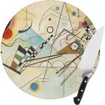 Kandinsky Composition 8 Round Glass Cutting Board