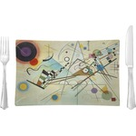 Kandinsky Composition 8 Rectangular Glass Lunch / Dinner Plate - Single or Set