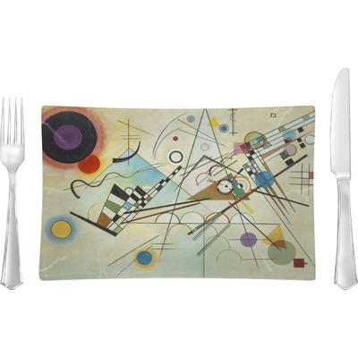 Kandinsky Composition 8 Rectangular Glass Lunch / Dinner Plate - Single or Set