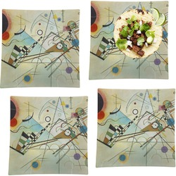 """Kandinsky Composition 8 Set of 4 Glass Square Lunch / Dinner Plate 9.5"""""""