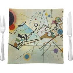 "Kandinsky Composition 8 9.5"" Glass Square Lunch / Dinner Plate- Single or Set of 4"