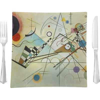 """Kandinsky Composition 8 9.5"""" Glass Square Lunch / Dinner Plate- Single or Set of 4"""