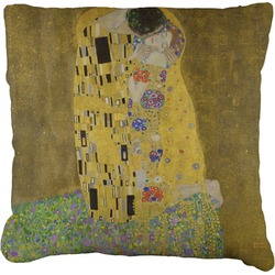 The Kiss - Lovers Faux-Linen Throw Pillow