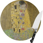 The Kiss (Klimt) - Lovers Round Glass Cutting Board
