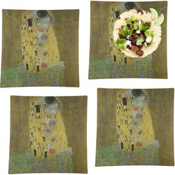 """The Kiss (Klimt) - Lovers Set of 4 Glass Square Lunch / Dinner Plate 9.5"""""""