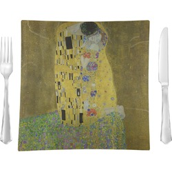 "The Kiss (Klimt) - Lovers 9.5"" Glass Square Lunch / Dinner Plate- Single or Set of 4"