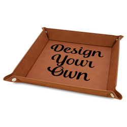 """Design Your Own 9"""" x 9"""" Leather Valet Tray"""