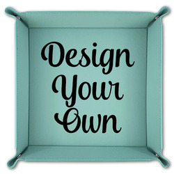 Design Your Own Teal Faux Leather Valet Tray