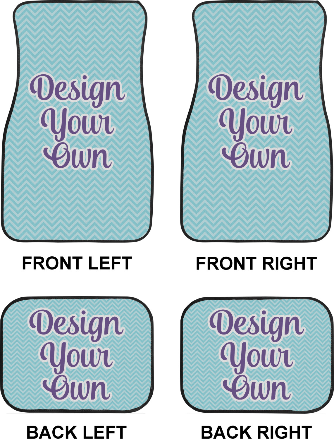 Design Your Own Car Floor Mats Set 2 Front 2 Back Personalized