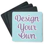 Design Your Own 4 Square Coasters - Rubber Backed (Personalized)