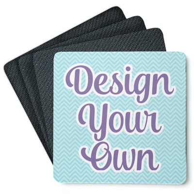 Design Your Own Personalized 4 Square Coasters - Rubber Backed