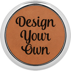 Design Your Own Leatherette Round Coaster w/ Silver Edge - Single or Set (Personalized)