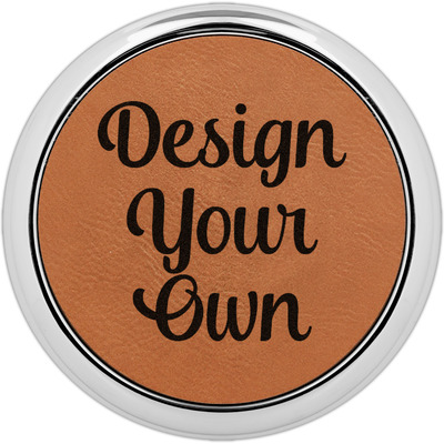 Design Your Own Personalized Leatherette Round Coaster w/ Silver Edge - Single or Set