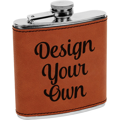 Design Your Own Personalized Leatherette Wrapped Stainless Steel Flask