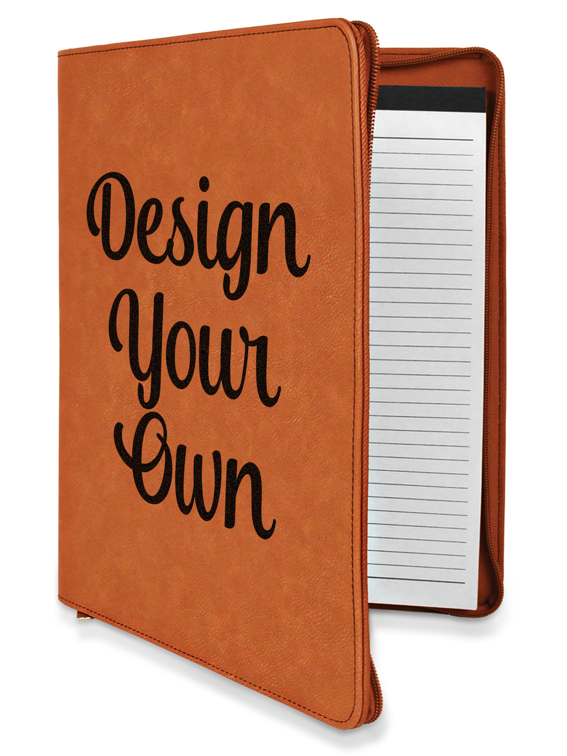 Design Your Own Personalized Leatherette Zipper Portfolio With Notepad