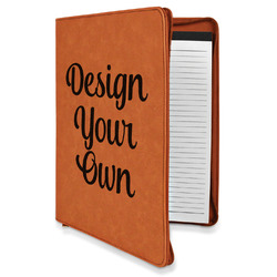 Design Your Own Leatherette Zipper Portfolio with Notepad