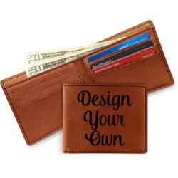 Cognac Leatherette Bifold Wallets