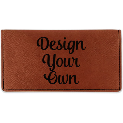 Design Your Own Personalized Leatherette Checkbook Holder - Double Sided