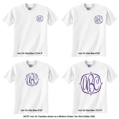 Design your own monogram iron on transfer up to 4 5 x4 5 for Create your own iron on transfer for t shirt