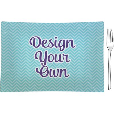 Design Your Own Personalized Rectangular Glass Appetizer / Dessert Plate - Single or Set
