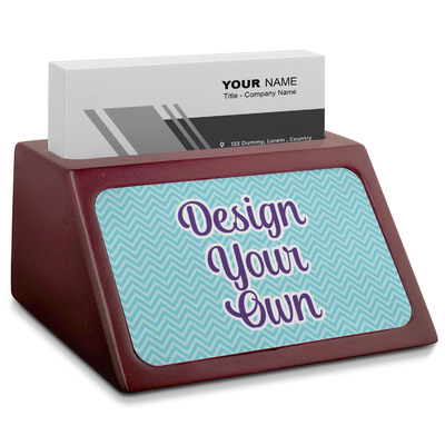 Design Your Own Personalized Red Mahogany Business Card Holder