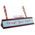 Design Your Own Red Mahogany Nameplate with Business Card Holder