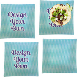 """Design Your Own Set of 4 Glass Square Lunch / Dinner Plate 9.5"""""""